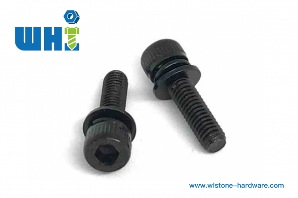 SEMS screw knurled head sems screw with flat washer and spring washer