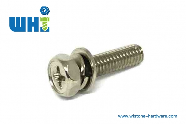 sems screw Brass hexagon philips screw with double washers including spring washer and flat washer